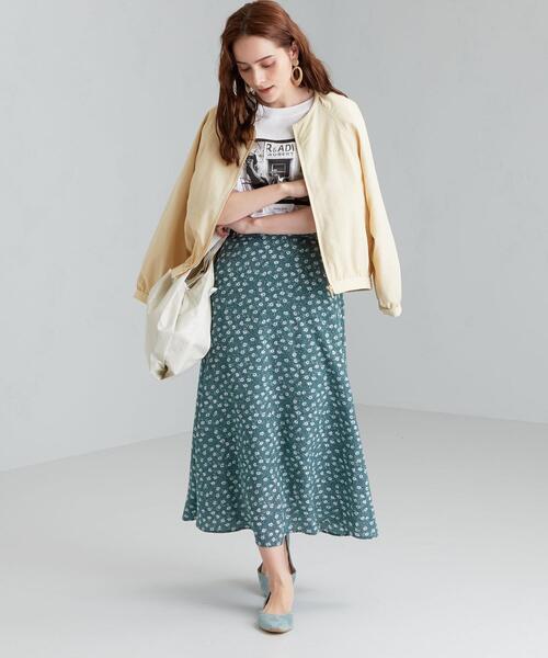 [green label relaxing] CFC フラワー プリント フレア スカート