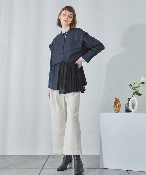 [PUBLIC TOKYO] マルチウェイバンドカラーシャツ