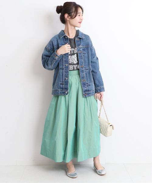 [IENA] シャンブレータフタギャザースカート【手洗い可能/ウエストゴム】◆