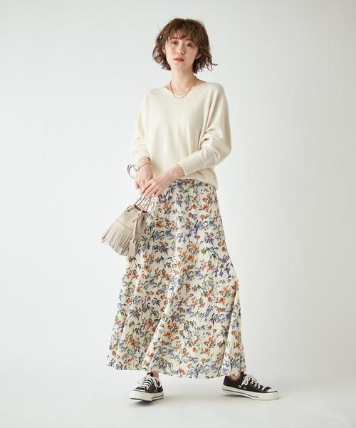 [RIVE DROITE] 1枚で華やぐ ガーデンフラワーボリュームヘムスカート(花柄)