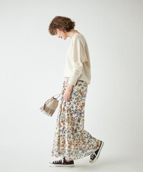 ガーデンフラワーボリュームヘムスカート(花柄)