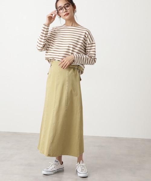 ◆サイドベルトAラインデニムスカート