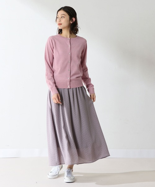 [Honeys] 柄ロングギャザースカート