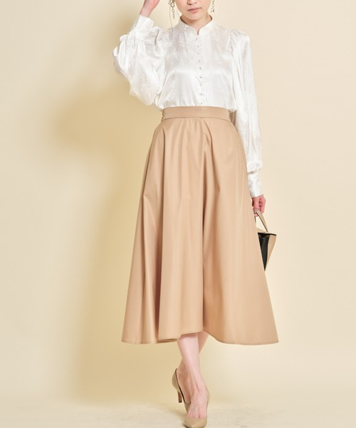 [tocco closet] タフタギャザーフレアスカート