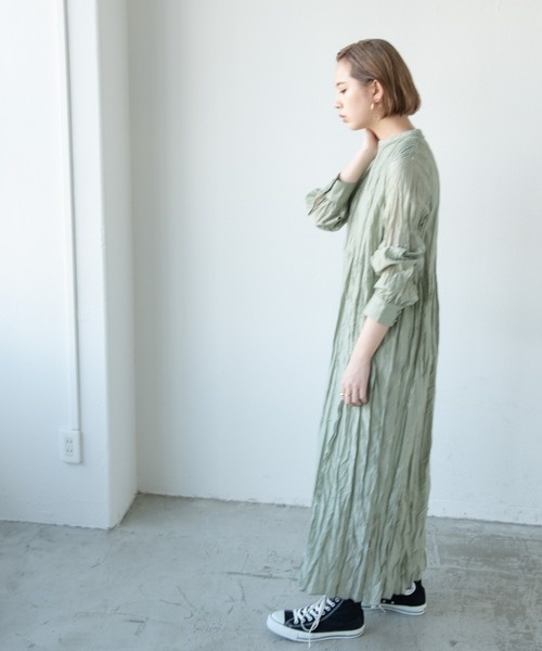 [YARD PLUS/AUNT MARIE'S] 【2021ss / new arrival】ワッシャーロングスリーブワンピース / Aunt Marie's