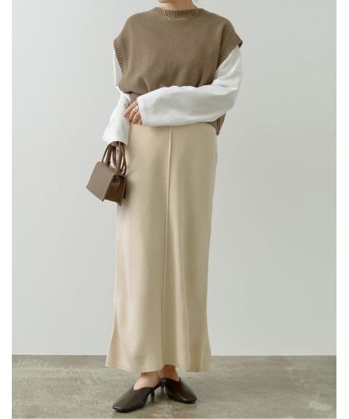 [Re:EDIT] [低身長向けサイズ有]アウトリンキングミラノリブニットタイトスカート