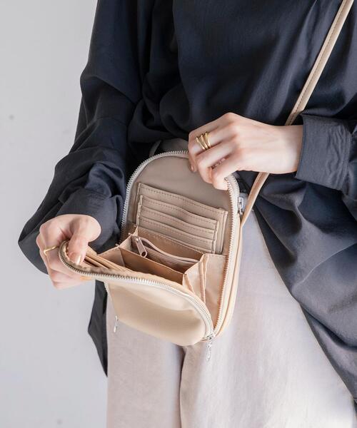 [coen] お財布ショルダーバッグ(ミニバッグ/フェイクレザー/カード入れ/スマホ用ショルダーバッグ)
