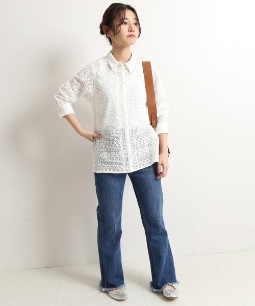 [IENA] ウォッシャブルレースデザインシャツ【手洗い可能】◆