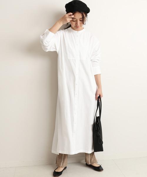 [IENA] キャンブリックシャツワンピース【手洗い可能】◆