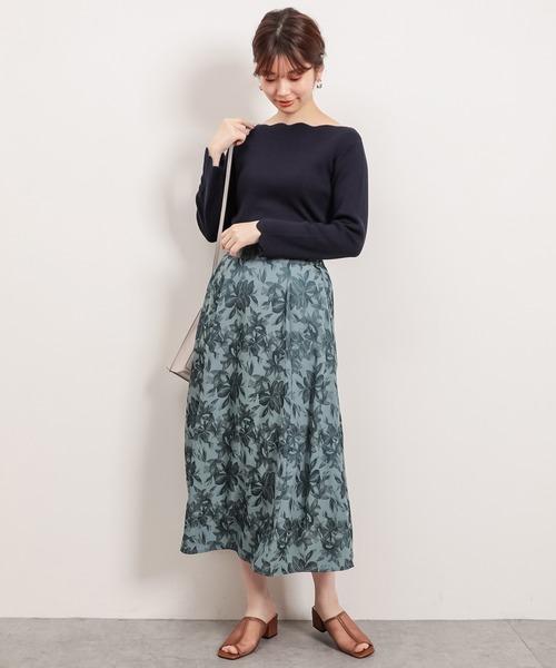 [natural couture] 【WEB限定】袖口配色スカラップお上品ニット