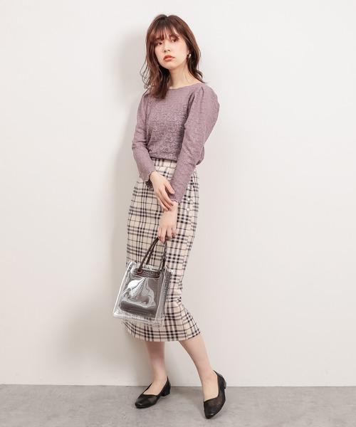 サイドドット釦ポンチスエードスカート