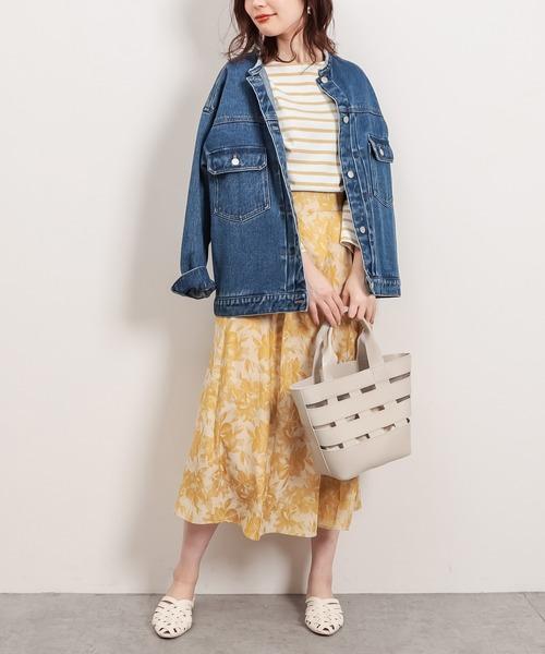 アートフラワージャガード柄タックフレアスカート