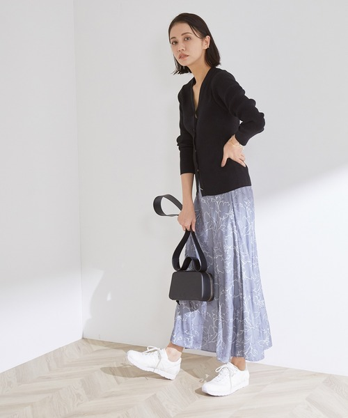 【オリジナルプリント】ラインフラワーアシンメトリーギャザースカート