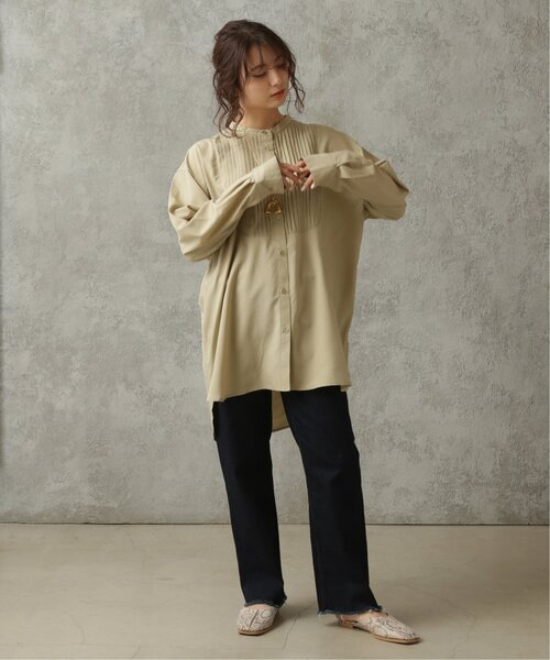 [Ray Cassin] 【WEB限定】バンドカラーピンタックシャツ