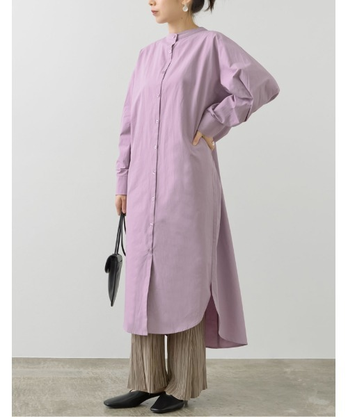 [Re:EDIT] [低身長サイズ有]バックシャーリングシャツワンピース