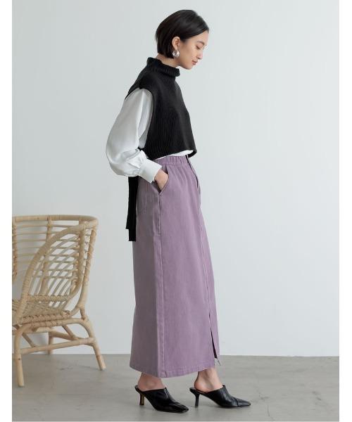 [低身長サイズ有]カラーツイルスリットIラインスカート