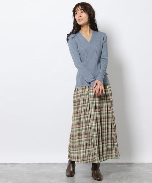 チェック柄プリーツロングスカート / LAKOLE