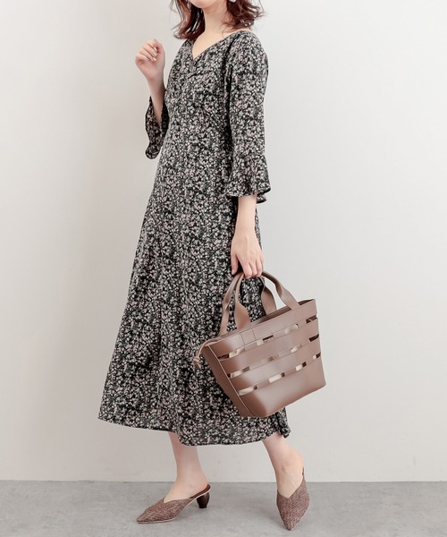 [natural couture] 【WEB限定】胸くしゅすっきりAラインレディワンピース