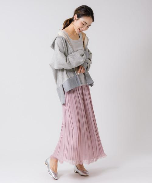 カラミ織 裾フリンジプリーツスカート
