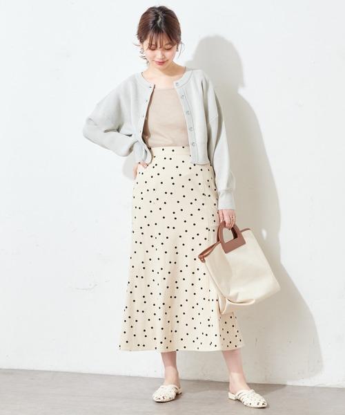 [natural couture] 麻調ドットマーメイドスカート