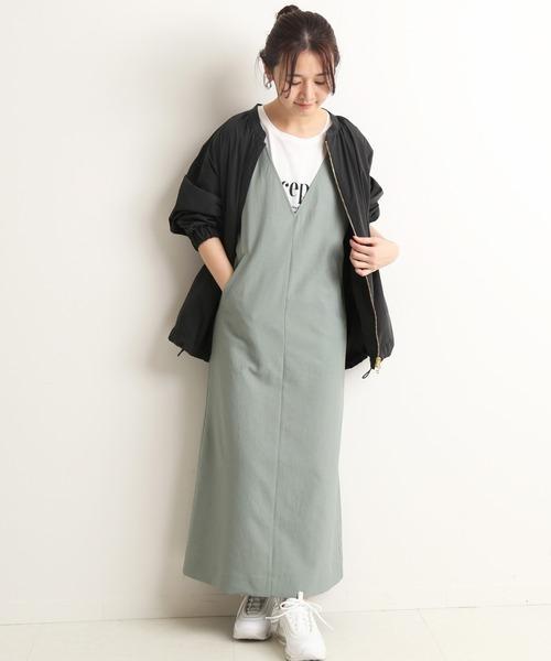 [IENA] ツイルVネックジャンパースカート【手洗い可能】◆