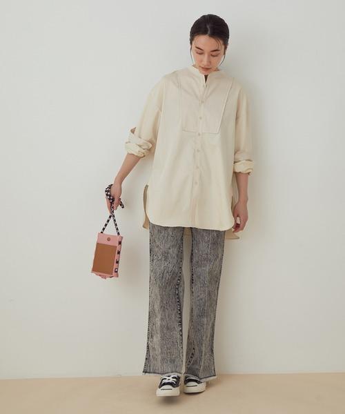 [ADAM ET ROPE'] 【WEB限定】バンドカラーコンビシャツ