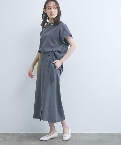 [ViS] 【UVケア&マシンウォッシャブル】【セットアップ対応】カットジャカードラップスカート
