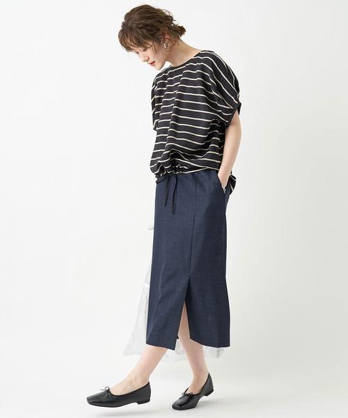 トレンドに左右されないベーシックデザイン デニムナロースカート(ひざ丈)