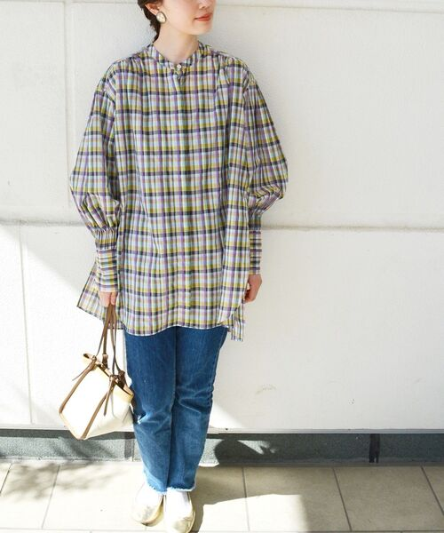 [SHIPS for women] 【SHIPS別注】BENCH MARKING SHIRT:シアーボリュームシャツ
