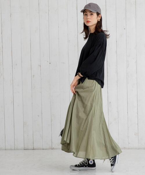 コットンボイルフレアマキシスカート#(フレアスカート/ギャザースカート)