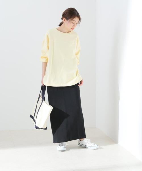 [IENA] コットンWフェイスタイトスカート【手洗い可能/ウエストゴム】◆