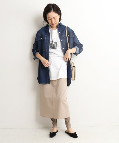 [IENA] ポンチレイヤードレギンススカート【ウエストゴム/手洗い可能】◆