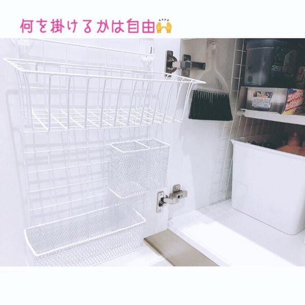 ワイヤーバスケットを使う洗面台収納