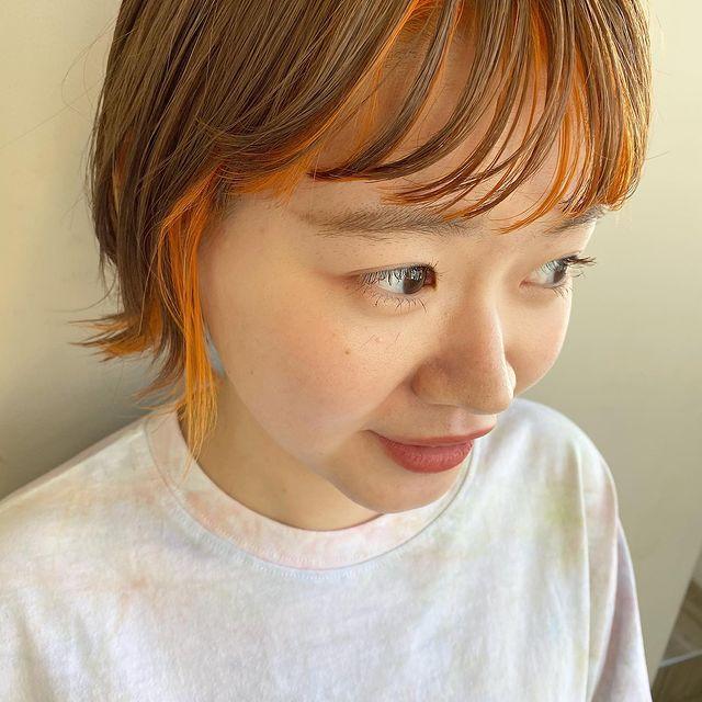 オレンジ インナーカラー ショート・ボブ5