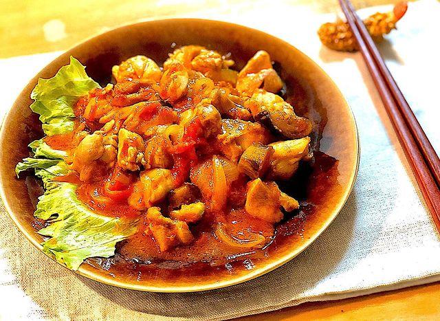 鶏もも肉のトマト生姜焼き