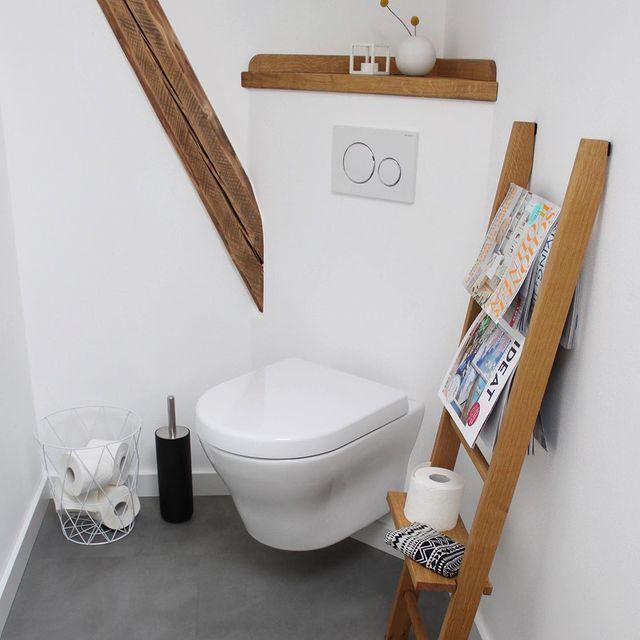 ラダーシェルフを活用したトイレ収納