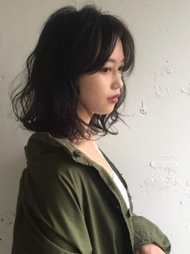 韓国風鎖骨ミディ×ブルーブラック