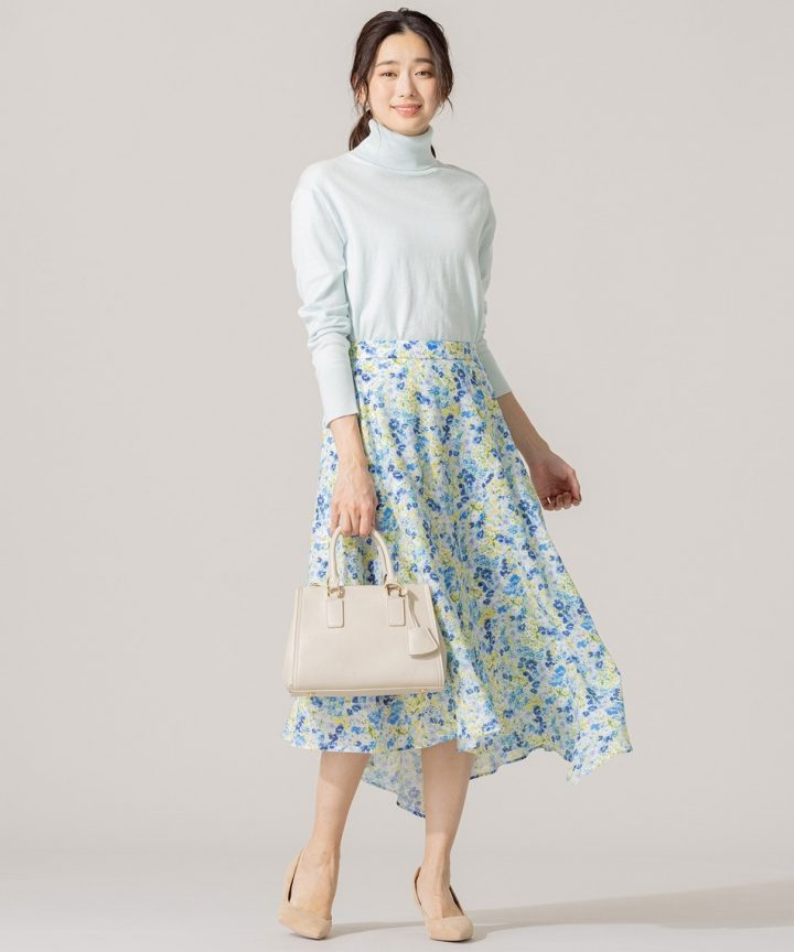 [組曲] 【洗える】マルチパターンプリント フレアスカート