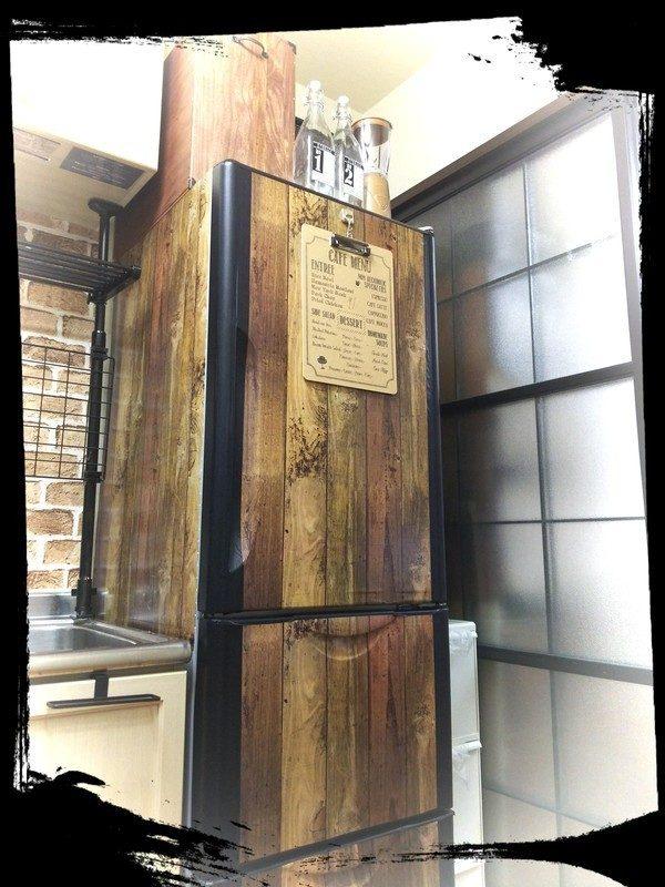 木製ボックスで冷蔵庫とおそろい柄に