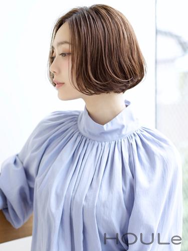 韓国トレンドの前髪なしのワンカールボブ