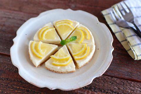 チーズケーキ、レモン、ミント、デザート、お菓子