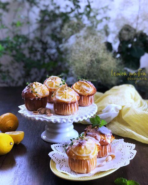 レモン、マフィン、焼き菓子、アイシング、