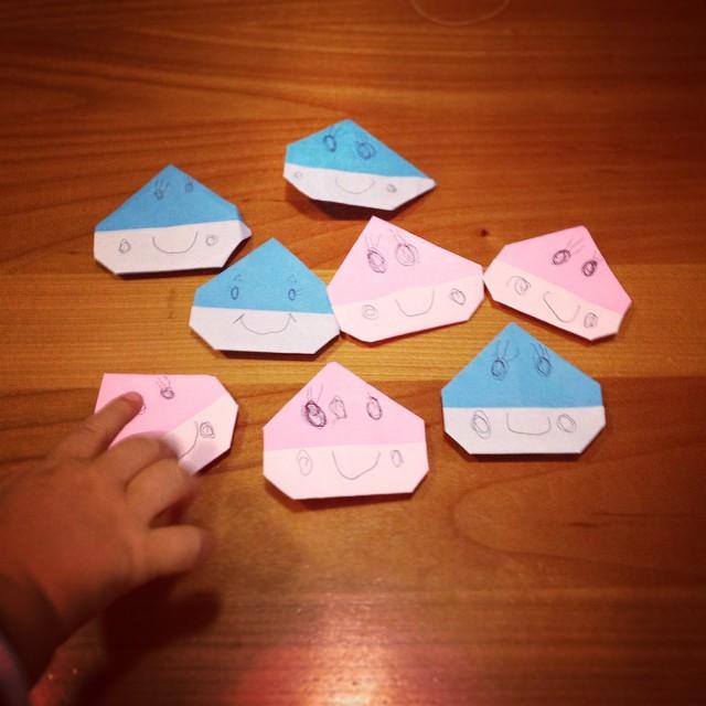 好きな色で作る折り紙の栗