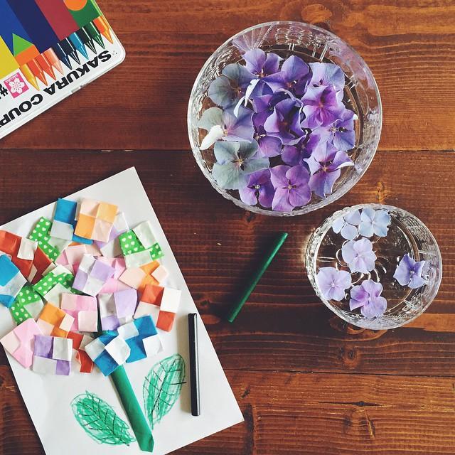 折り紙で作る素敵な紫陽花