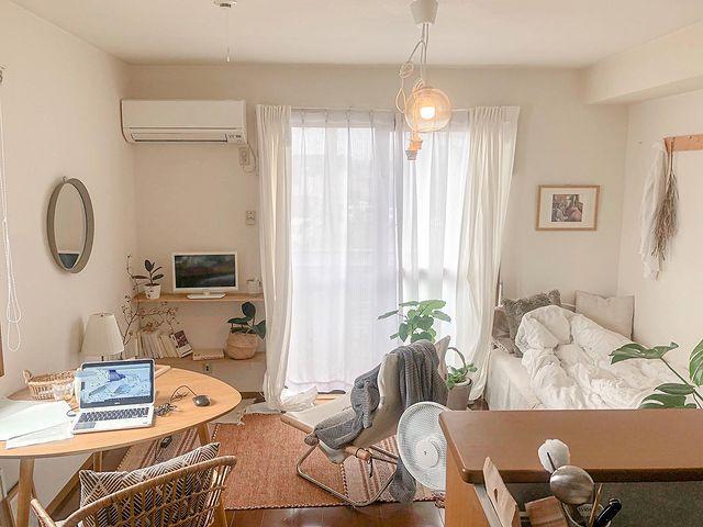 ワンルームを仕切らずに使う家具配置