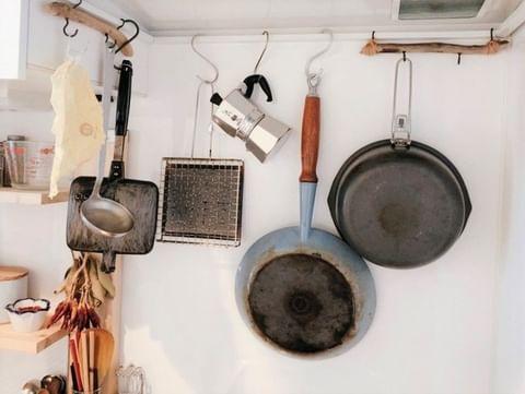 レンジフードにかける調理器具収納