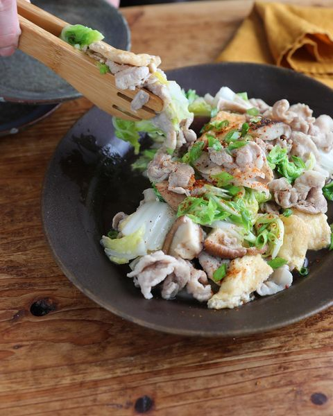 白菜、シイタケ、あぶらあげ、青ネギ、炒め、おかず。