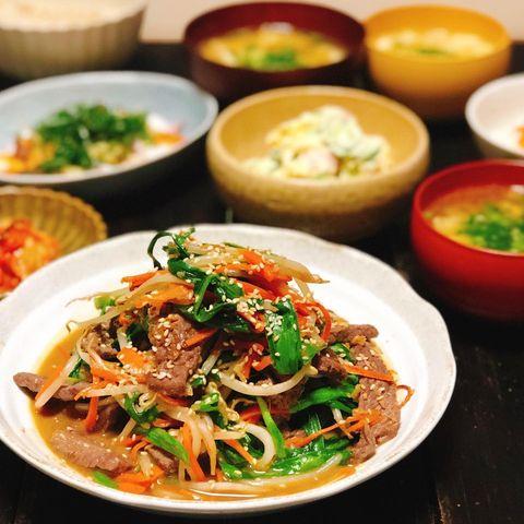 牛カルビと野菜の炒めもの