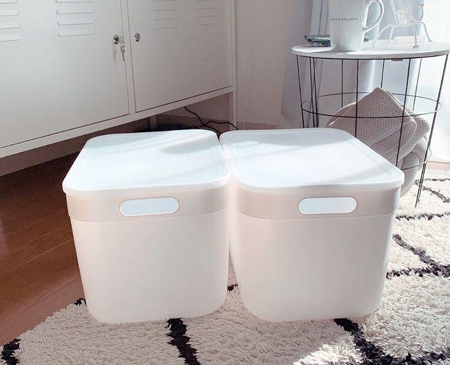 使いやすいふた付きの収納ボックス