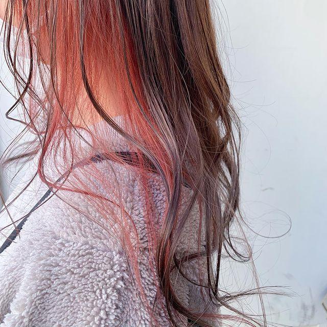 明るくてきれいなオレンジインナーカラー